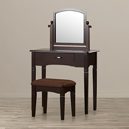 Vanity Set with Mirror in Espresso Traditional Style Includes Vanity Table Standing Mirror and Stool Felt-Lined Drawers by AVA Furniture