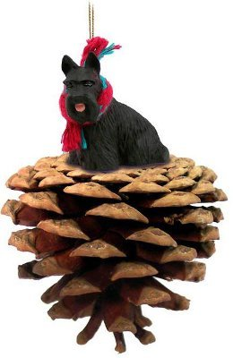 Scottie Scottish Terrier Real Pinecone Dog Christmas (Scottie Christmas Ornament)