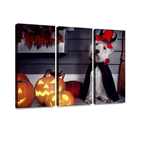 BELISIIS Dog in Halloween Dracula Costume Wall Artwork