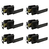 Keyed Entry Lever set with Square Rose Reversible for Right/Left Handed Door Exterior Interior Security Entrance Lock Iron Black,6 Pack