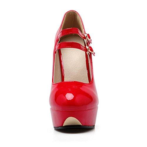 TAOFFEN Women's Solid Stiletto Pumps Shoes Red-81 cvcy06H6HX