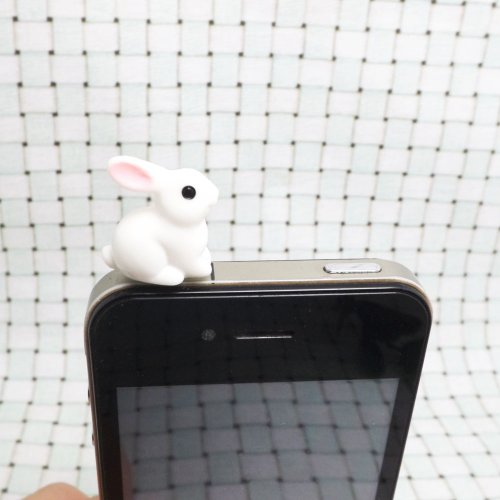 Lovely Pink Ears White Rabbit Little Bunny Dust Plug 3.5mm Phone Accessory Cell Phone Plug iPhone Dust Plug Samsung Plug Phone Charm Headphone Jack Earphone Cap Ear Cap Dust Plug