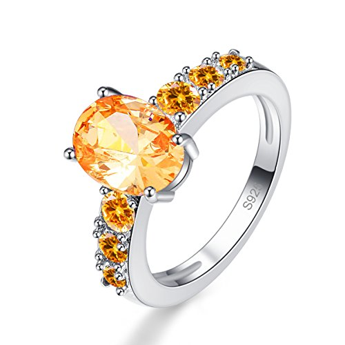 Veunora Women's 925 Sterling Silver Created 7x9mm Morganite Filled Promise Wedding Ring Size 9