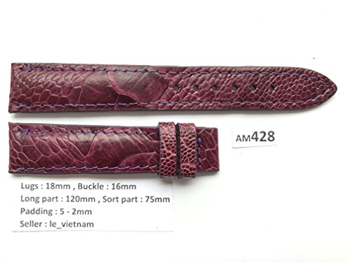 AM428 # Purple GENUINE OSTRICH LEATHER SKIN WATCH STRAP BAND 18mm / 16mm (Purple Ostrich Leather)