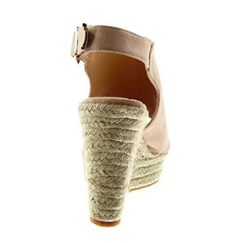 Angkorly Zapatillas Moda Mules Sandalias Plataforma Peep-Toe Correa de Tobillo Mujer Cuerda Trenzado Plataforma 11 cm rosa pálido