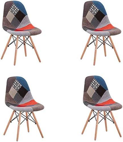 QQXX Set di 4 sedie da Pranzo, Sedia Patchwork retrò, Gambe