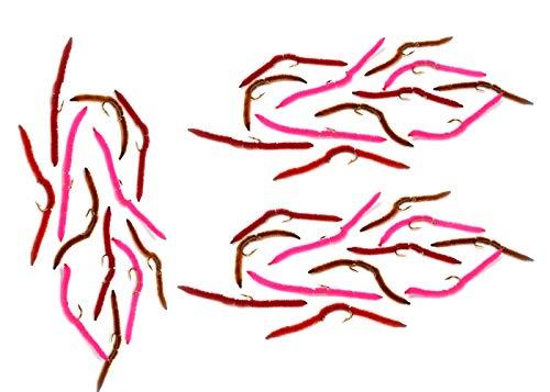 San Juan Worm Fishing Flies - 3 Dozen Tri-Color Assortment All Hook Size 14