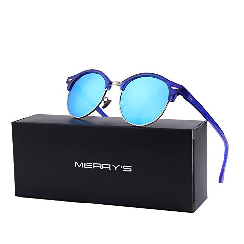 MERRY'S Polarized Sunglasses for Men Women Semi Rimless Retro Brand Sun Glasses S8054 (Blue, - Big Framed Sunglasses