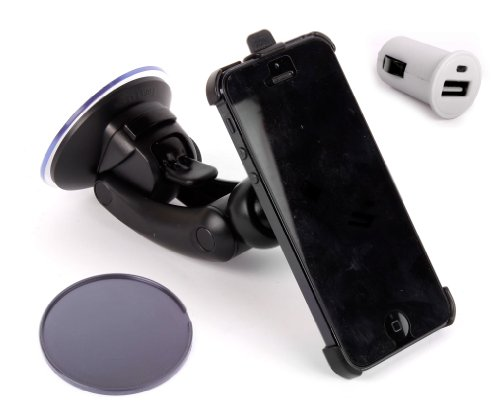 Price comparison product image DURAGADGET Suction Car Windscreen Mount For The NEW Apple iPhone SE (2016) and Apple iPhone 5 (16GB, 32GB, 64GB) + BONUS Car Charger Adapter!