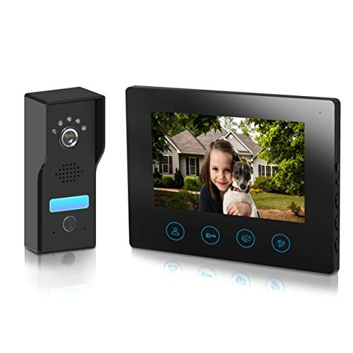 Video Doorbell with 7inch Monitor - Video Door Phone Intercom Kit unlock function Metal camera Night Vision Touch Button Screen - No Wi-Fi & No APP Metecsmart (black)