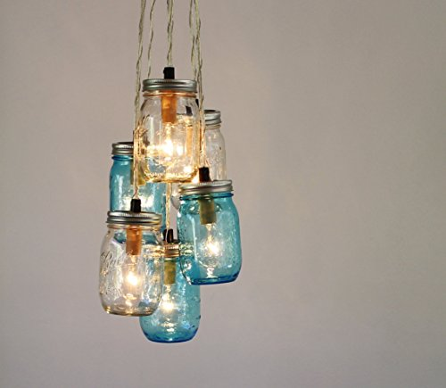 Mason Jar Chandelier, Blue and Clear Jars Cluster, Hanging Pendant Lamp Fixture by BootsNGus