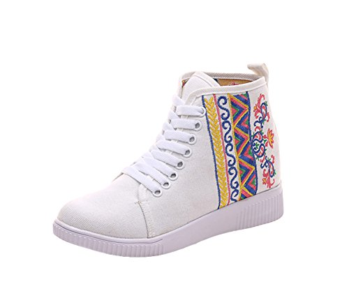 Avacostume Womens Broderi High-top Flats Tilfeldige Blonder-up Walking Sko  Hvit