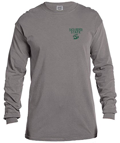 Image One NCAA Cal State Sacramento Hornets Vintage Poster Comfort Color Long Sleeve T-Shirt, Medium,Grey