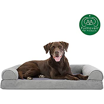 Furhaven Pet Dog Bed | Orthopedic Faux Fur & Velvet Traditional Sofa-Style Living Room Couch Pet Bed w/ Removable Cover for Dogs & Cats, Smoke Gray, Large
