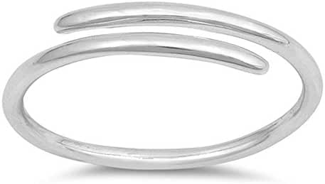 Thin High Polish Criss Cross Open Bar Ring .925 Sterling Silver Band Sizes 2-10