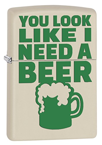 Zippo Lighter: You Looks Like I Need a Beer - Cream Matte 77397