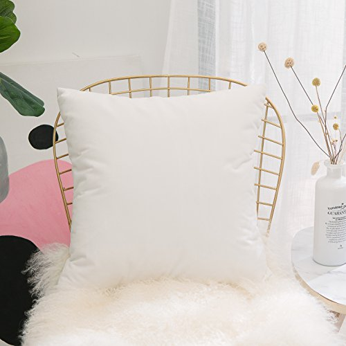 (HOME BRILLIANT Soft Velvet Solid Spring Decorative Throw Pillow Cover for Couch Bed Chair Nursery, 18x18 inches(45x45cm), White)