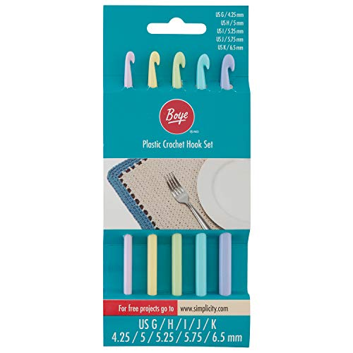 Boye 3336234001WA Plastic Crochet Hook Set, 6pc, US Sizes G, H, I, J, and K, 6 Piece ()