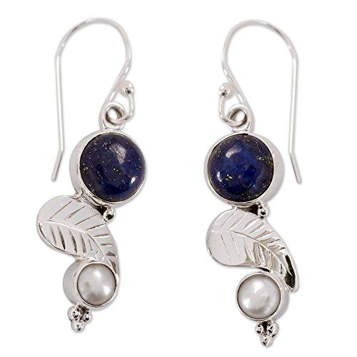 NOVICA Lapis Lazuli Cream Cultured Freshwater Pearl .925 Silver Dangle Earrings Tropical Berry