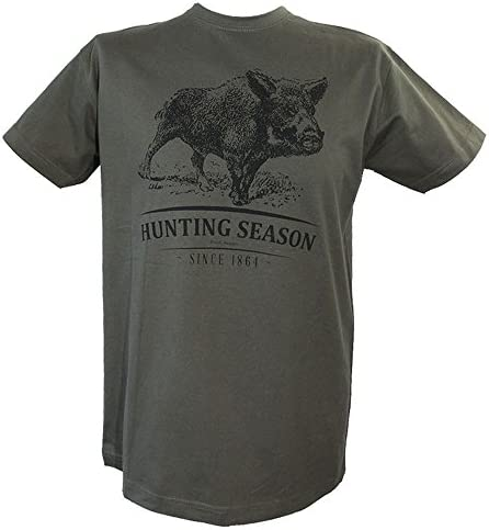 Akah T- Shirt mit Wildschwein- Motiv grün