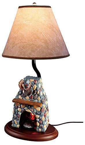 Hand Painted Ceramic Moose Design Electric Fireplace (Blue Hand Painted Table Lamp)