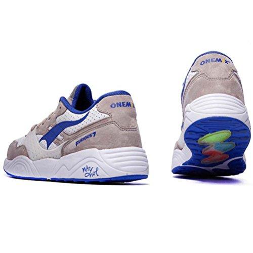 Yidiar Femmes Athlétique Trail Training Chaussures De Course En Plein Air Route Sport Sneakers Gris / Blanc / Bleu