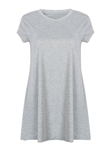 Joeoy Women's Gray Casual Short Sleeve Crewneck Knit T-Shirt Mini