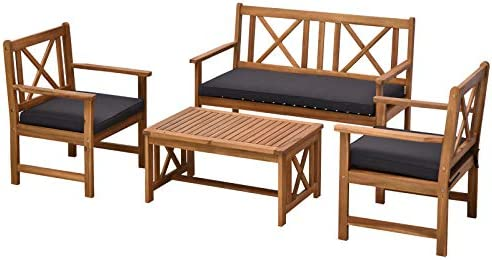 Outsunny 4 Piece Acacia Wood Outdoor Patio Furniture Set