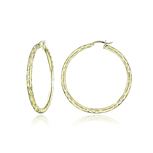 14K Gold Diamond-Cut 3mm Lightweight Large Round Hoop Earrings, 50mm by Hoops & Loops