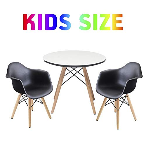 Buschman Set of White Kids Dining Room Mid Century Wooden Legs Table Scratch Protected Surface and Two ()