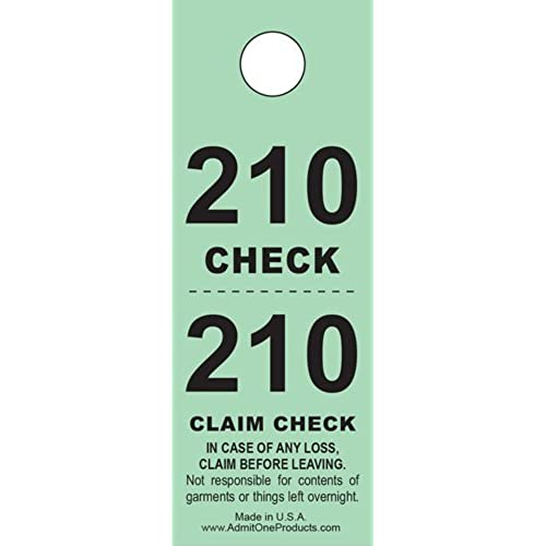 Two Part Coat Room Checks Check Tags 2 Green 500 Count