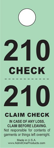 Two-Part Coat Room Checks -- Coat Check Tags -- 2 Part Green -- 500 Count Coat Check Ticket