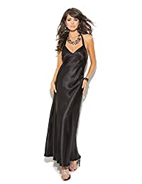 Womens Charmeuse Sexy Hot Satin Halter Neck Full Length Gown
