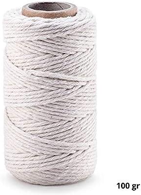 Hilo de cocina de algodón, hilo de carnicería, hilo de asar, para pastelería, cordel para embalar, cordón de macramé, diámetro 2 mm 100g=ca. 70m Blanco: Amazon.es: Hogar