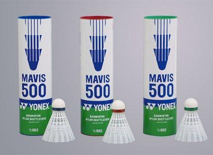 (Yonex Mavis 500 Blue Cap Nylon Shuutlecock - White)