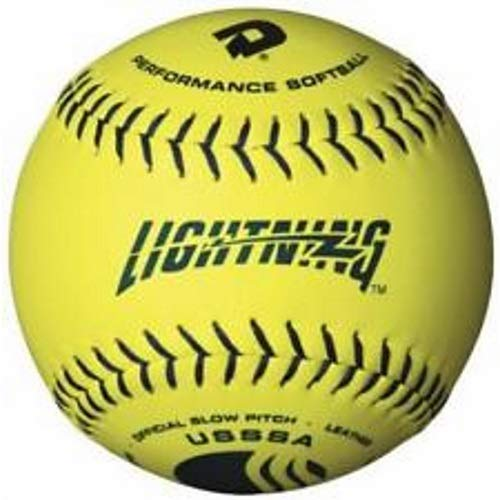 (DeMarini Lightning USSSA Men's Classis C Series Slowpitch Synthetic Leather Softball (12-Pack), 12-Inch, Optic Yellow (Renewed) )