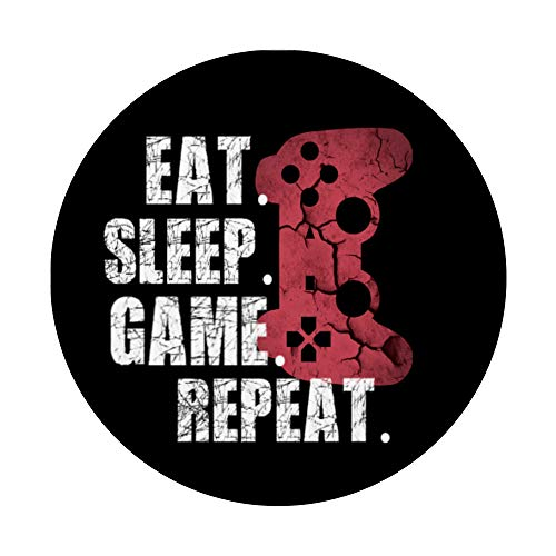 Funny Gamer Video Games Eat Sleep Game Boys Teens Gift PopSockets PopGrip: Swappable Grip for Phones & Tablets