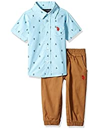 U.S. Polo Assn. Conjunto de Playera y pantalón Corto de Manga Corta para niño, 2 Piezas