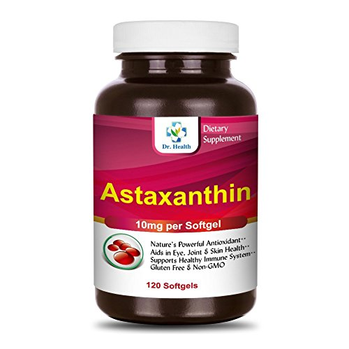 Astaxanthin 10mg 120 Softgels Powerful all Natural Antioxidant amp Carotenoid High Purity Extra Strength Aids Eye Brain Joint Skin Heart Health amp Anti-Aging up to 4 months supply by DrHealth Discount