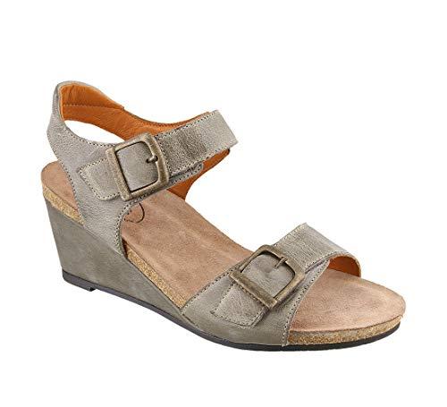 Taos Footwear Women's Buckle Up Graphite Sandal 8-8.5 M - Buckle Footwear
