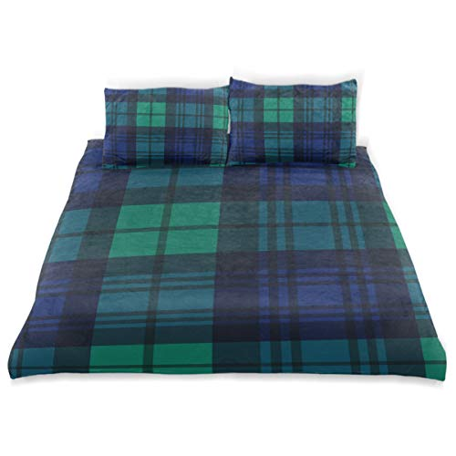 ZOMOY Duvet Cover Set Black Watch Style Tartan Seamless Vector Decorative Piece Bedding Set with Pillow Shams Black Watch Silk Tartan