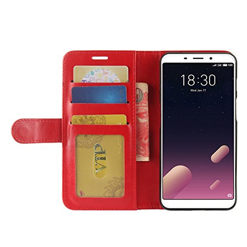 M6S Leather Brown for with Meilan M6S Protective Premium Credit PU Slots Card Case Cover HualuBro Flip S6 Case Meizu ID Meizu Phone Wallet Handmade Red qXgxUw5