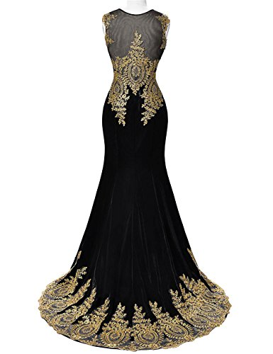 Dresses Evening Red Women's Formal Prom Mermaid Illusion DYS Lace Neck Appliques FaqwgB
