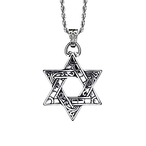 iSTONE Hexagram Stainless Steel Star of David Pendant Necklace, Unisex, 24