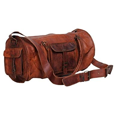 Komal's Passion Leather 24 Inch Duffel Travel Gym Sports Overnight Weekend Leather Bag