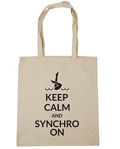 HippoWarehouse Keep calm and synchro auf Tote Einkauf Fitnessstudio Strandtasche 42cm x38cm, 10 liter - Natürlich, One size