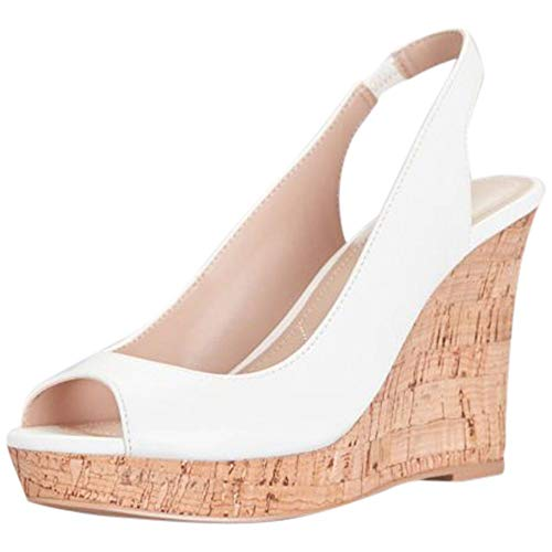 (David's Bridal Peep-Toe Slingback Cork Wedge Sandals Style Leandra, White, 9.5)