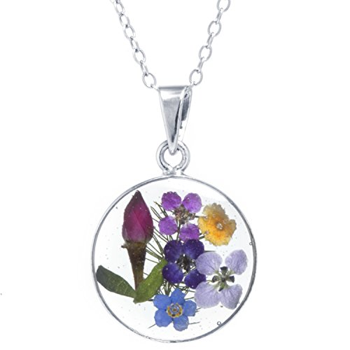 Silver on the Web Fine Silver Plated Dried Multi Flowers Circle Pendant