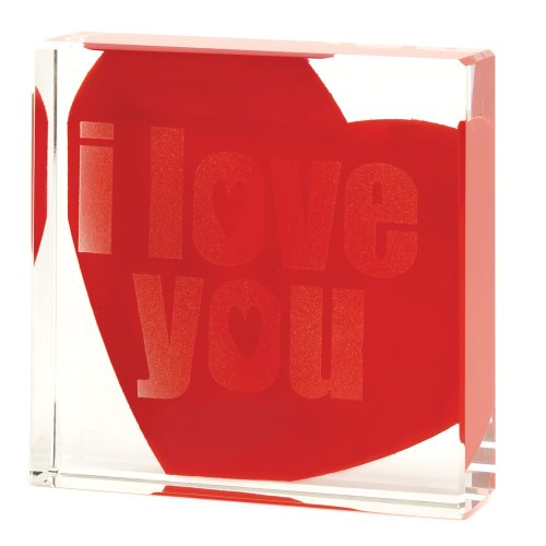 - Gifts & Decor I Love You Glass Cube Paperweight