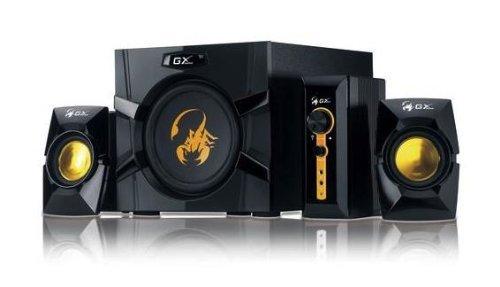 Genius GX-Gaming SW-G2.1 3000 با دو جک ورودی برای کنسول های بازی ، دی وی دی ، تلویزیون ، پخش کننده های MP3 ، مک ، رایانه های شخصی و لپ تاپ (سیاه ، زرد)